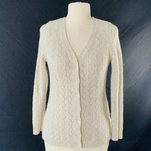 LL Bean Cardigan Sweater Lacey Knit Button Up Wool